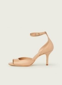 L.K. BENNETT NOREEN BEIGE LEATHER SANDALS / luxe ankle strap peep toe shoes