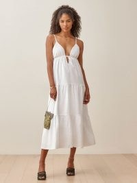 Reformation Odella Linen Dress | white skinny strap summer dresses | plunge front neckline | tiered | empire waist