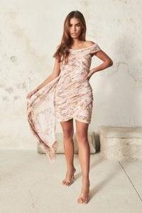 lavish alice off shoulder pleated mini dress in pink rose – ruched bardot dresses