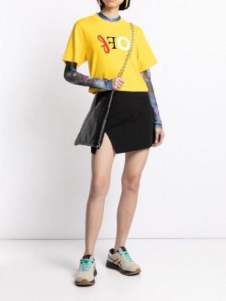 Off-White logo-print slit-detail skirt   black split mini skirts - flipped