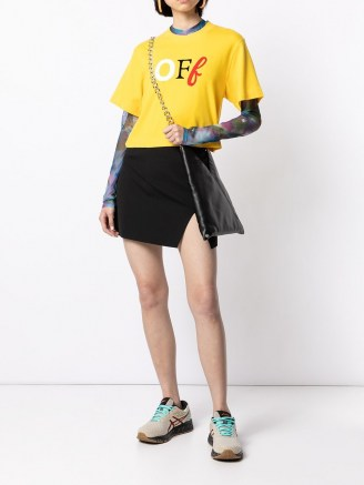 Off-White logo-print slit-detail skirt   black split mini skirts