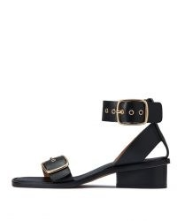 JIGSAW OXLEY LEATHER HEELED SANDAL / black wide strap sandals