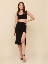 Reformation Ozzie Two Piece | thigh high slit skirts | black crop top and skirt fashion set