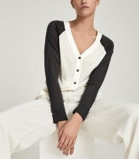 REISS PALOMA FINE JERSEY CARDIGAN NEUTRAL/CHARCOAL ~ colour block V-neck cardigans