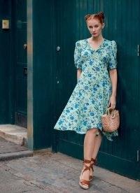 ROYAL ASCOT x L.K. BENNETT PAMI GREEN ROMANCE FLORAL SILK DRESS – vintage style summer dresses