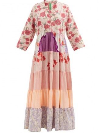 RIANNA + NINA Pink patchwork vintage-silk maxi dress / one of a kind fashion - flipped