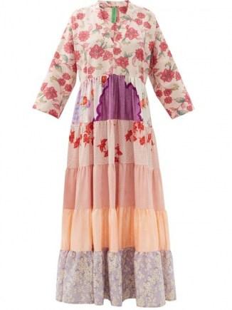 RIANNA + NINA Pink patchwork vintage-silk maxi dress / one of a kind fashion