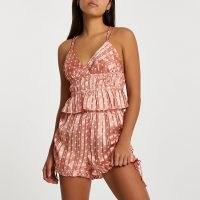 RIVER ISLAND Peach spot print satin cami PJ set ~ strappy camisole and shorts PJs ~ nightwear sets