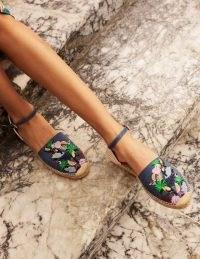 BODEN Peggy Espadrilles Chambray Toucan / blue denim bird embroidered espadrille sandals