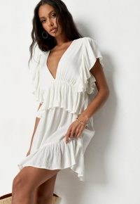 Missguided petite cream frill sleeve plunge smock mini dress