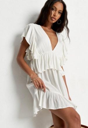 Missguided petite cream frill sleeve plunge smock mini dress - flipped