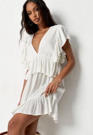 Missguided petite cream frill sleeve plunge smock mini dress