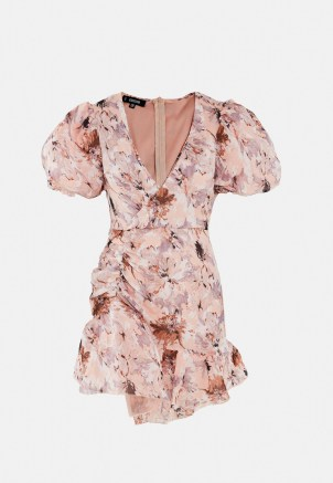 Missguided petite pink floral puff sleeve frill mini dress | plunge front going out dresses - flipped