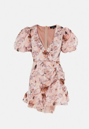 Missguided petite pink floral puff sleeve frill mini dress | plunge front going out dresses