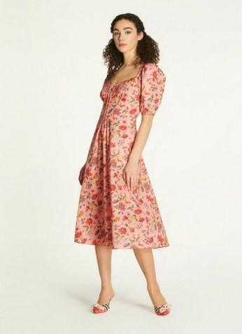 L.K. BENNETT PHELIA PINK ROMANCE FLORAL STRETCH COTTON DRESS / sweetheart neckline summer dresses - flipped