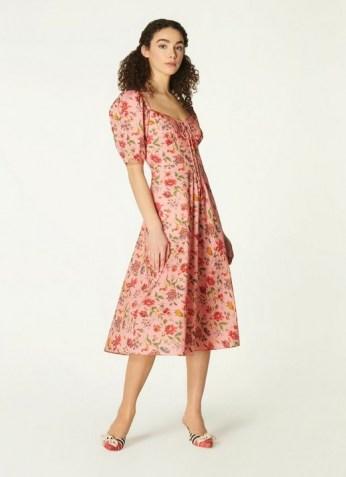 L.K. BENNETT PHELIA PINK ROMANCE FLORAL STRETCH COTTON DRESS / sweetheart neckline summer dresses