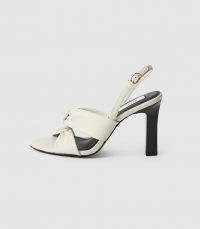 REISS PHOEBE LEATHER TWIST FRONT SLINGBACKS OFF WHITE