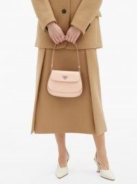 PRADA Pink Cleo spazzolato-leather shoulder bag | small luxe handbag