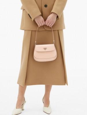 PRADA Pink Cleo spazzolato-leather shoulder bag | small luxe handbag - flipped