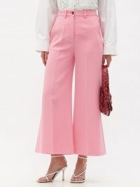 VALENTINO Crepe Couture wool-blend crepe gaucho trousers in pink | cropped flares