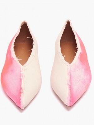 MARNI Pink Dancer bi-colour painted-canvas ballet flats | point toe ballerinas - flipped