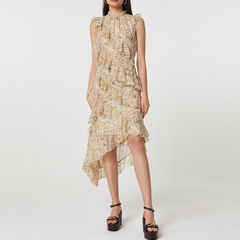 RIVER ISLAND Pink ditsy floral print frill dress / romantic sleeveless ruffled dreses with high neck and asymmetric hemline - flipped
