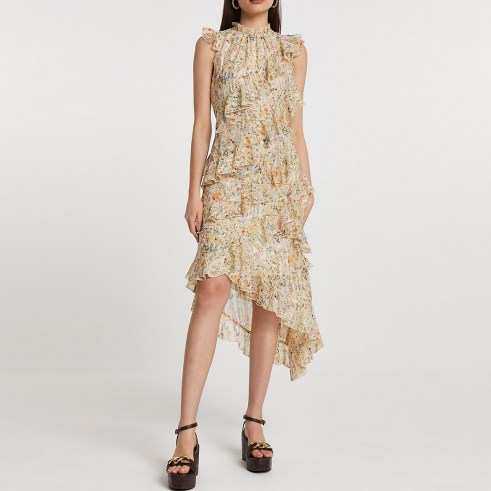 RIVER ISLAND Pink ditsy floral print frill dress / romantic sleeveless ruffled dreses with high neck and asymmetric hemline