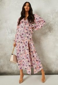 MISSGUIDED pink floral print ruffle smock maternity midi dress / feminine pregnancy dresses