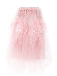 NOIR KEI NINOMIYA Pink handkerchief-hem organza-ruffled tulle skirt ~ semi sheer ballet style skirts