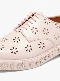 NOIR KEI NINOMIYA Pink laser-cut polished leather Derby shoes ~ floral embellished footwear
