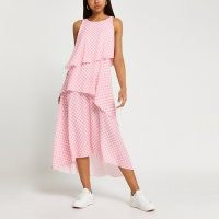 RIVER ISLAND Pink layered gingham asymmetric midi dress ~ checked summer dresses