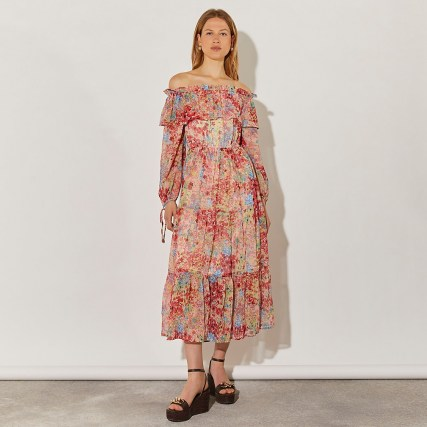 RIVER ISLAND Pink long sleeve bardot floral dress / vintage style off the shoulder dresses / 70s look summer fashion - flipped