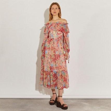 RIVER ISLAND Pink long sleeve bardot floral dress / vintage style off the shoulder dresses / 70s look summer fashion