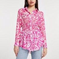 RIVER ISLAND Pink long sleeve floral shirred waist shirt