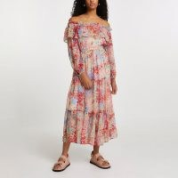 River Island Pink long sleeve off bardot floral dress – tiered, off the shoulder, bohemian style summer dresses