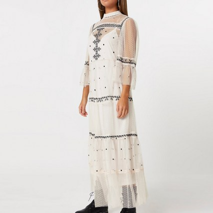 RIVER ISLAND Pink mesh embroidery tiered dress / romantic semi sheer dresses - flipped