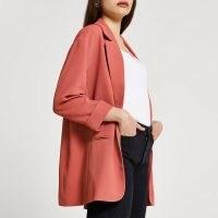 River Island Pink oversized blazer – open front blazers