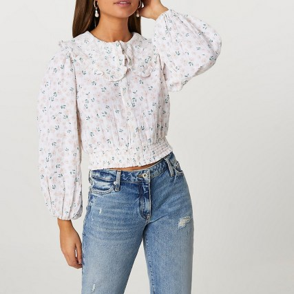 RIVER ISLAND Pink oversized collar floral printed blouse / romantic style blouses - flipped