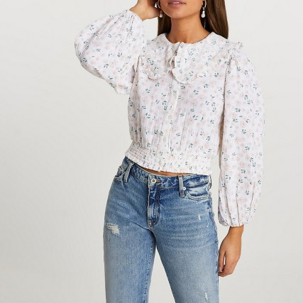RIVER ISLAND Pink oversized collar floral printed blouse / romantic style blouses