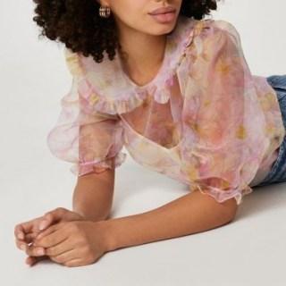 RIVER ISLAND Pink puff sleeve floral collar organza shirt / semi sheer blouse - flipped