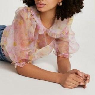 RIVER ISLAND Pink puff sleeve floral collar organza shirt / semi sheer blouse