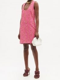 BOTTEGA VENETA Pink scoop-neck bouclé mini dress ~ textured sleeveless evening dresses