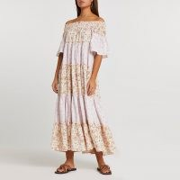 River Island Pink short sleeve bardot tiered maxi dress – vintage style off the shoulder summer dresses – 70s look fashion