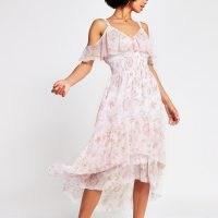 River Island Pink sleeveless shirred waist midi dress – floaty shirred waist cold shoulder dresses – dip hem