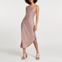 River Island Pink square neck ruched midi slip dress | asymmetric cami dresses