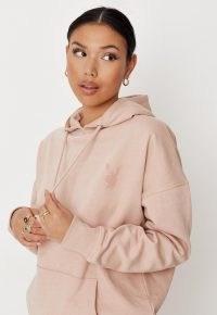 playboy x missguided blush bunny logo oversized hoodie ~ light pink kangaroo-pocket pullover hoodies ~ logo bunnies on fashion