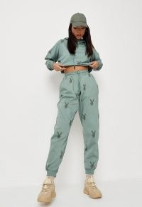 playboy x missguided khaki bunny all over print oversized joggers ~ green logo jogging bottoms