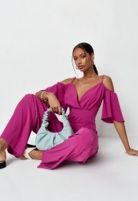 Missguided plum cold shoulder wide leg jumpsuit | plunge front jumpsuits