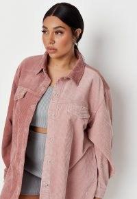 Missguided plus size pink splice cord denim shirt