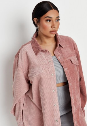 Missguided plus size pink splice cord denim shirt - flipped